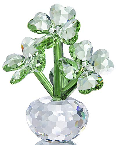 Qf Crystal Flower Dreams Four-Leaf Clover Figurine Collectibles Crystal Ornament ()