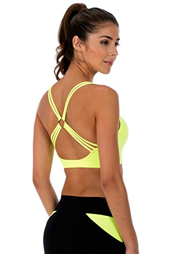 Kurve O Ring Racerback Sports Bra Top (Neon Yellow)Made in - Made Usa Bra Sports In