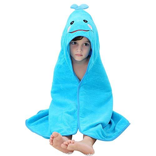 MICHLEY Unisex Baby Animal Hooded Bath Towel Soft Cotton Beach Swimming Bathrobe for 0-6T, Blue