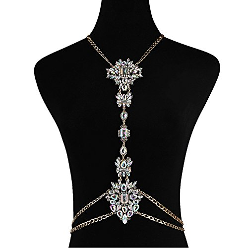 Holylove Colorful Crystal Unique 2016 Statement Body Jewelry Necklace- with Color Box (Crystal White)