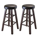 Luxury Home Marta Set of 2 Round Counter Stool, PU Leather Cushion Seat, Square Legs, Assembled