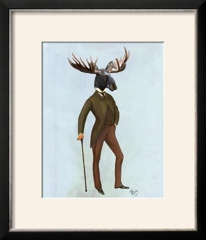 ArtEdge Moose in Suit Full by Fab Funky, Size 16W x 19H, Frame is Wood with a Gesso finish - 16w Moose