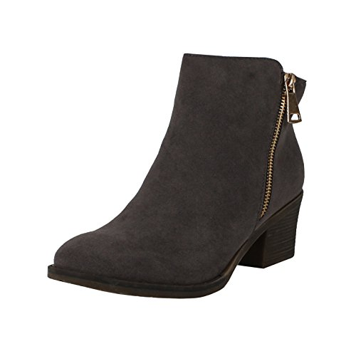 Reneeze Pama-01 Women's Zipper Stacked Chunky Heels Strappy Ankle Booties,Grey,10