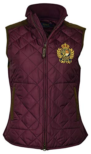 Polo Ralph Lauren Women's Leather Trimmed Quilted Crest Logo Vest - S - - Vest Ralph Lauren Polo