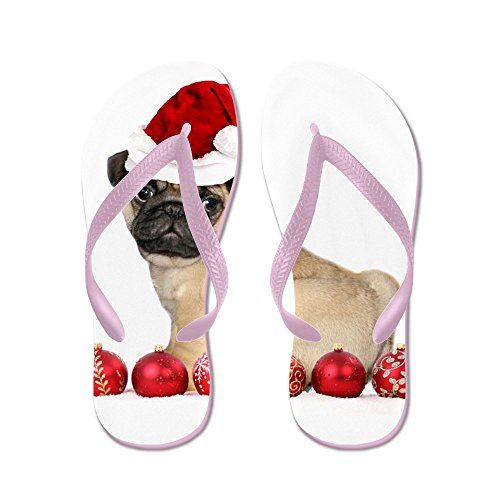 CafePress Christmas Pug Dog - Flip Flops, Funny Thong Sandals, Beach Sandals Pink
