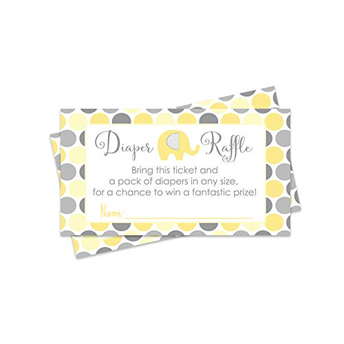Yellow Elephant Diaper Raffle Tickets - 25 Pack - Baby Shower Game -