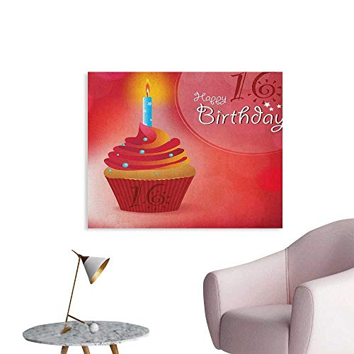 Anzhutwelve 16th Birthday Wallpaper Little Cupcake with Candlestick Greeting Message Romantic Print Funny Poster Red Orange and Blue W36 -