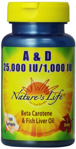 Nature's Life A and D, 25,000 IU/1000 IU, Softgels, 100 Count