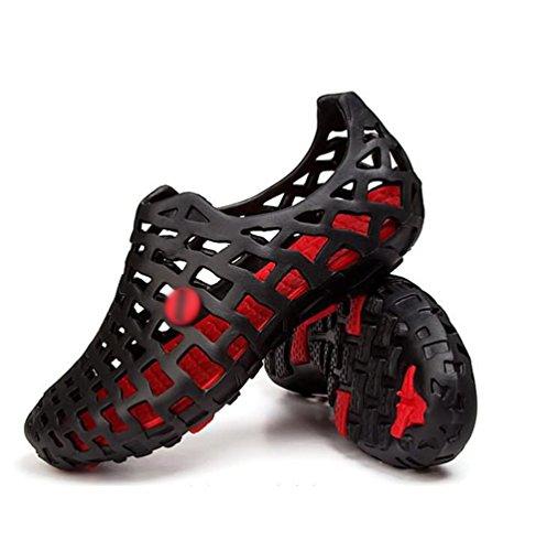 Dexinx Plage Amoureux de Été Noir Cool Plates Attrayant Respirant Trous Sandales Rouge Chaussures frHwfSq