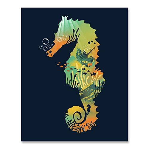 Underwater Seahorse Landscape Art Print Colorful Sunken Ship Ocean Inspiration Wall Art Buried Treasure Tropical Fish Poster Sea Creatures Coral Seaweed Beach House Home Decor 8 x 10 Art Print
