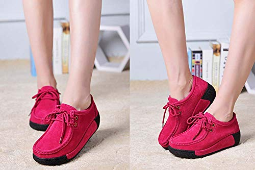 Red Women Flat Casual Lightweight New Loafer GLSHI Seasons Sneakers 2018 dwnzZPq6xp