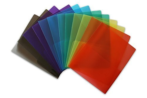 STEMSFX Clear Lightweight 2 Pocket Plastic Folders (Pack of 12 Folders Assorted Colors) For Letter Size Papers, Includes Business Card Slot