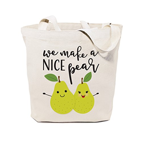 The Cotton & Canvas Co. We Make A Nice Pear Reusable Grocery Bag and Farmers Market Tote Bag