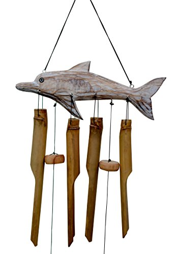 Cohasset Gifts 211D Cohasset Bamboo Dolphin Bmaboo Wind Chime, White Washed Over Wood