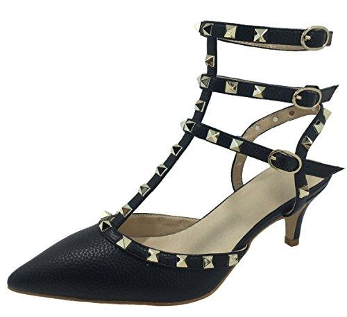 Royou Yiuoer Fourteen Colors Women's Patent Leather Buckle Studded Sandals T-Strap Kitten Pumps Dress Sandals Black Z 4 B(M) US