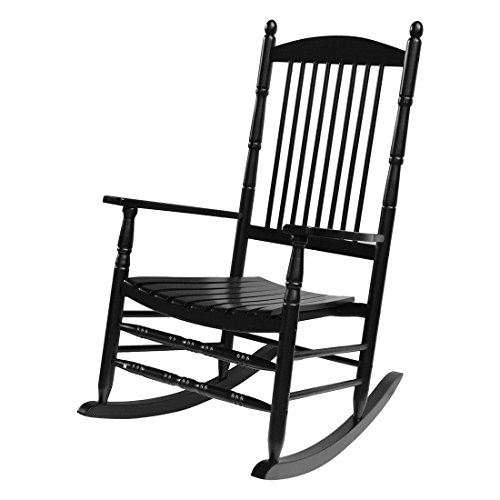 Coismo Outdoor Solid Wood Rocking Chair Porch Rocker for Adult,Black