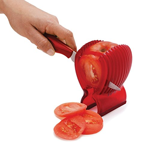 Astra shop Tomato Slicer - Amazingly Accurate Tomato Slicer with Firm Grip System - Safe and Durable ABS Material - Time Saver with Ergonomic Design - Up to 13 Slices - Vibrant Red 2 With this tomato slicer you'll create perfect tomato slices everytime Made of durable plastic Easy to use; simply place tomato in slicer