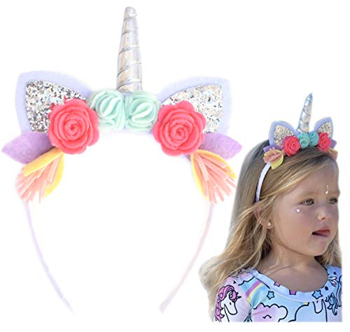 California Tot Unicorn Crown Headband with Glitter Ears & Felt Flowers for Babies, Toddlers, Girls (Unicorn) -