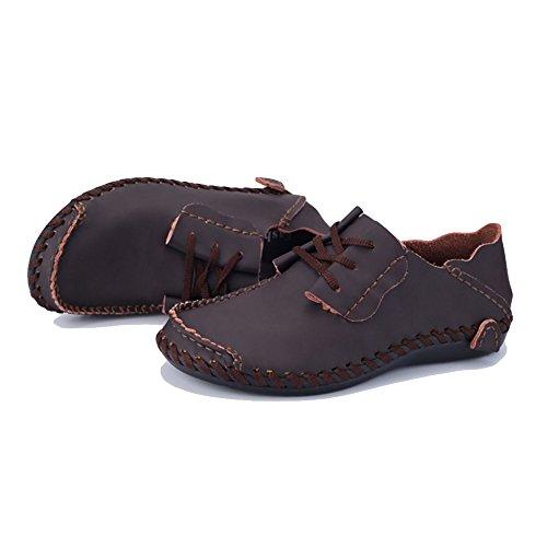 De De Encaje De Planos Cuero Tamaño De De Barco Mocasines Zapatos MERRYHE Hombre En Cubierta Zapatos para Barco Coffee Zapato De Conducción Gran 5tPSOXx