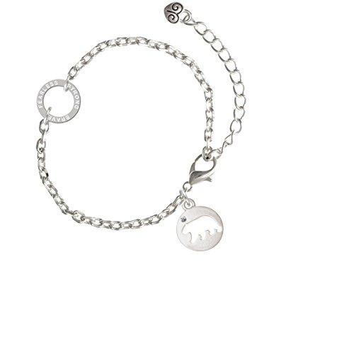 Silvertone Bear Silhouette - Fearless Strong Brave Ring Zoe Bracelet, 8