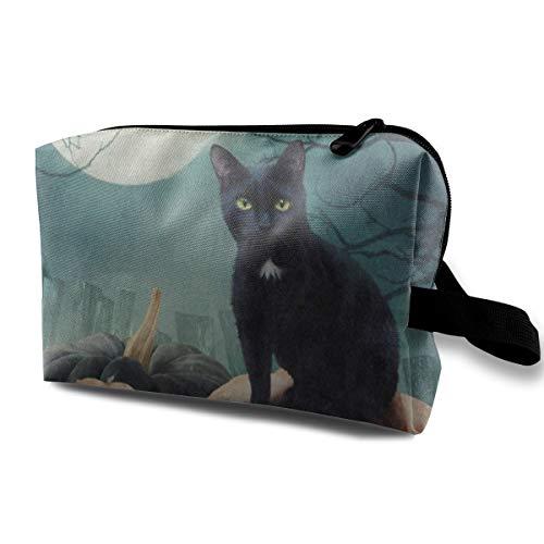 Makeup Bag Halloween Black Cat On Pumpkin Full Moon Portable Travel Multifunction Travel Bags Customized Holder For (Emo Makeup Halloween)