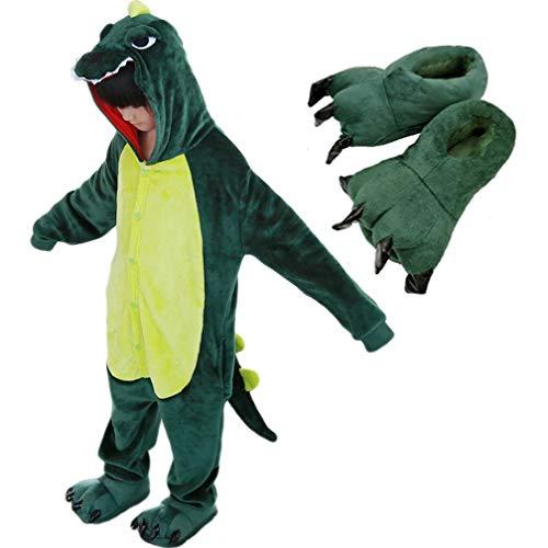 Beskie Kids Onesie Pajamas Unisex Dragon Halloween Costume with Slipper Age 2-10 Years