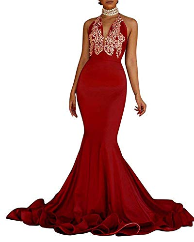 LotviaBridal 2019 Women's Long Applique Mermaid Gowns Beads Crystal Halter Prom Dresses Red