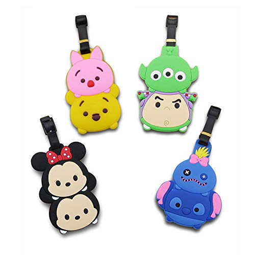 (Finex Set of 4 - Tsum Tsum Mickey Mouse Minnie Mouse Travel Luggage ID Tag for Bags Suitcases with Adjustable Strap)