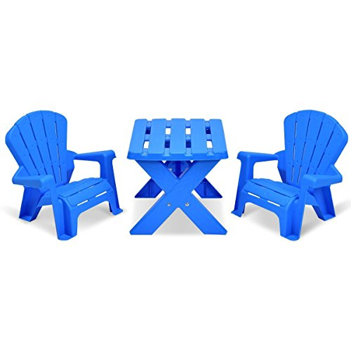 Lucky Link 3pcs Plastic Children Table and 2 Chairs Set, Blue