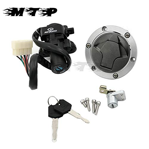MMKUTZ - Motorcycle Ignition Switch Lock Fuel Gas Cap Cover Seat Key Set For Kawasaki Ninja 250R 2008-2012 Ninja 300 2013-2015 2014