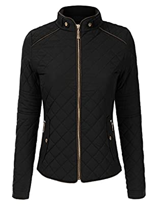 DRESSIS Womens Long Sleeve Mock Neck Lightweight Quilted Zip Up Down Jacket
