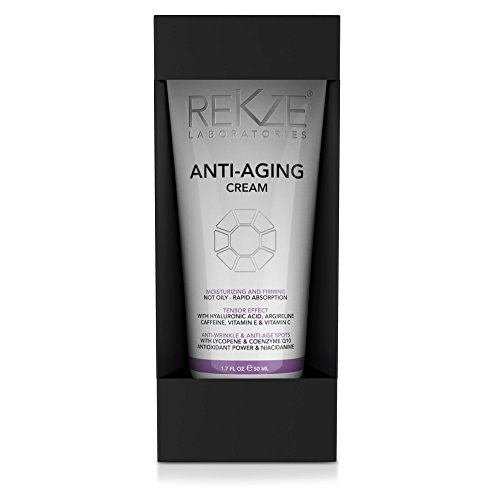 REKZE Anti-Aging Cream Clinically Proven For Men & Women, Moisturizing & Firming, Not Oily, Rapid Absorption, Tensor Effect, Anti-Wrinkle & Age Spots With Coenzyme Q10, Hyaluronic Acid ()