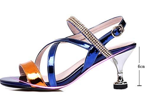 Sandali Americani Misto Colore in con Pelle 37 Estivi in Europei e Dimensioni Sandali Colore Blu ZtfqXFf