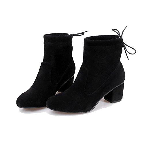 Allhqfashion Mujeres Lace-up Round Cerrado Kitten-heels Imitado Suede Low-top Botas, Negro, 41