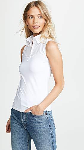 57c579834c SkinnyShirt Classic Sleeveless White Slim Shirt No-Bunch Pull-On Shirt  w Nylon