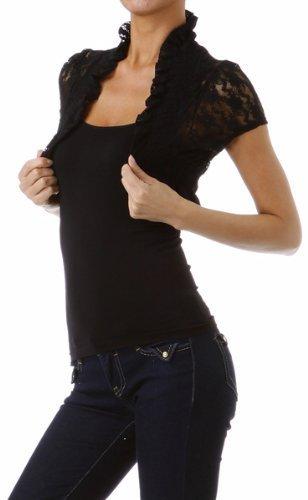 Women's Formal Party Lace Victorian Ruffled Short Sleeve Stretchy Bolero Shrug