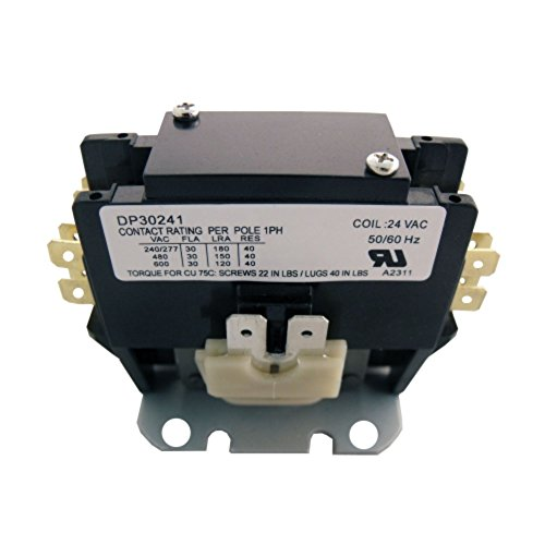 Single Pole Contactor - Supco Single Pole / 1 Pole 30 Amp 24v Replacement Condenser Contactor DP30241