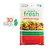 Keep it Fresh Produce Bags - BPA Free Reusable Freshness Green Bags Food Saver Storage for Fruits, Vegetables and Flowers - Set of 30 Gallon Size Bags