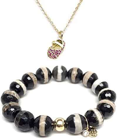 TFS Jewelry Set 12mm Black Onyx Lauren 7 Stretch Bracelet 14mm Moon /& Star Disc Charm 16 Gold Necklace