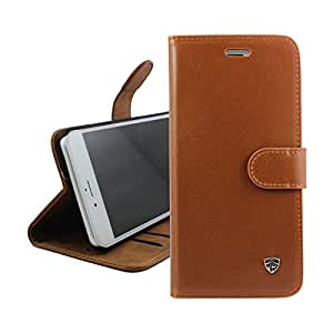 FANSONG iPhone 7 Plus/ 8 Plus PU Leather Phone Case with Card Cash Holder Bussiness Casual Series Lightweight Stand Feature Cover - Brown