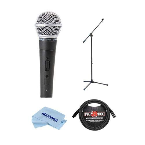 Shure SM58-S Cardioid Dynamic Handheld Wired Microphone with ON/OFF Switch. - Bundle With On-Stage MS7701B Euro-Boom Microphone Stand, 10' 8mm XLR Mic Cable XLR Male to XLR Female, Microfiber ()