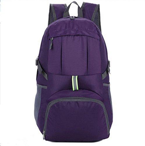 BUSL De gran capacidad exterior del paquete del alpinismo del recorrido del hombro de nylon impermeable del paquete de admisión bolsa plegable 35L . orange Purple