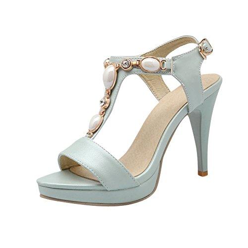 Carolbar Women's Grace Fashion Beaded Rhinestones High Heel Dress Sandals Blue 0eEho8
