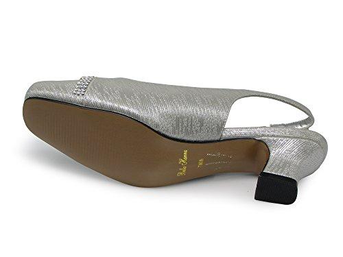 Enzo Romeo Antica02 Femmes Largeur Largeur Fronde Retour Talon Bas Pompes Sandales Chaussures Argent