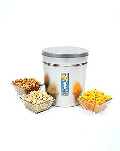 Gary Poppins Caramel + Cheddar + Kettle Popcorn (Divided) Tin, 3.5 Gallon