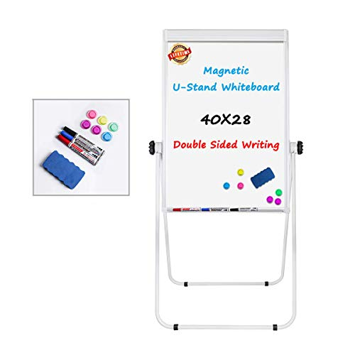 Stand White Board - 40x28 Magnetic Dry Erase Board, Flip Chart Pad Double Sided/whiteboard Easel, Height Adjustable & 360 Degree Rotating W/White Board Easel, White