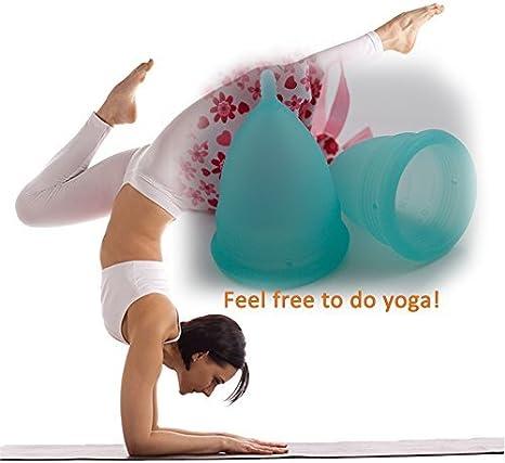 LEASEN Menstrual Cup-Health Care Soft Silicone Lady Cup-Una alternativa femenina perfecta a las servilletas sanitarias o tampones grandes, azules