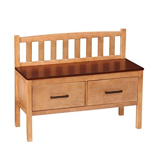 2 Drawer Mid Century Modern Oversized Pine Storage Bench In Walnut By SEI