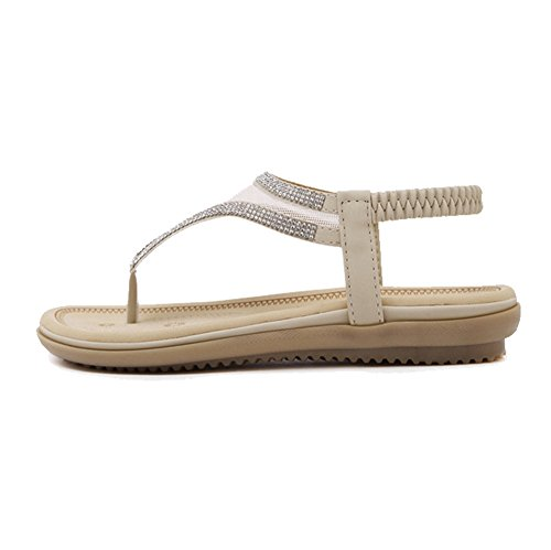 Btrada Dames Cz T-strap Platte Sandalen Fashion Clip Teen Elastische Jurk Sandalen Abrikoos