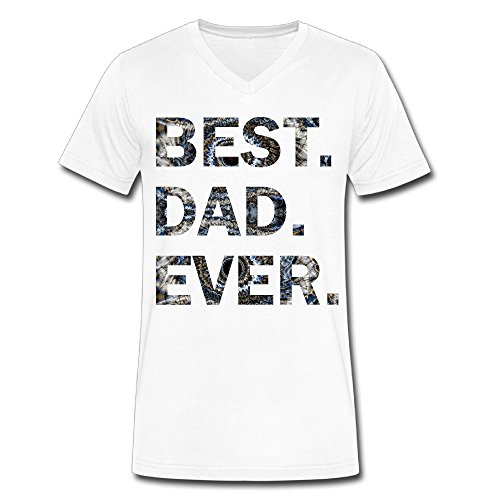 Men's Best Dad Ever V Neck T Shirt White